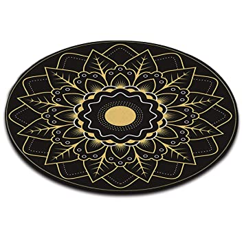 Tapis Rond Coussin De Meditation Fond Noir Texture Jaune Motif
