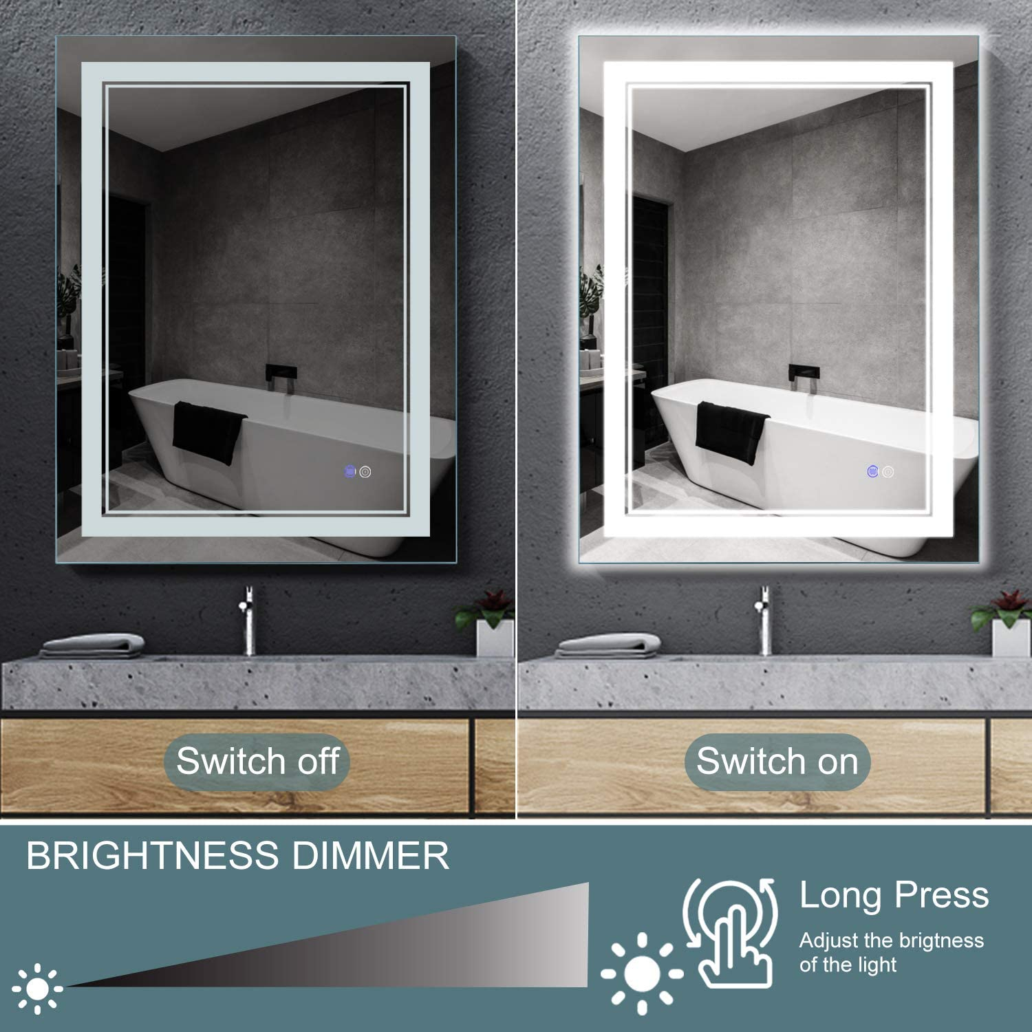 MAISTECH Bathroom Mirror with LED Lights Dimmable Anti-Fog Backlit Wall Mounted Makeup Vanity Mirror with Lights Horizontal/Vertical (32 x 24): Furniture & Decor