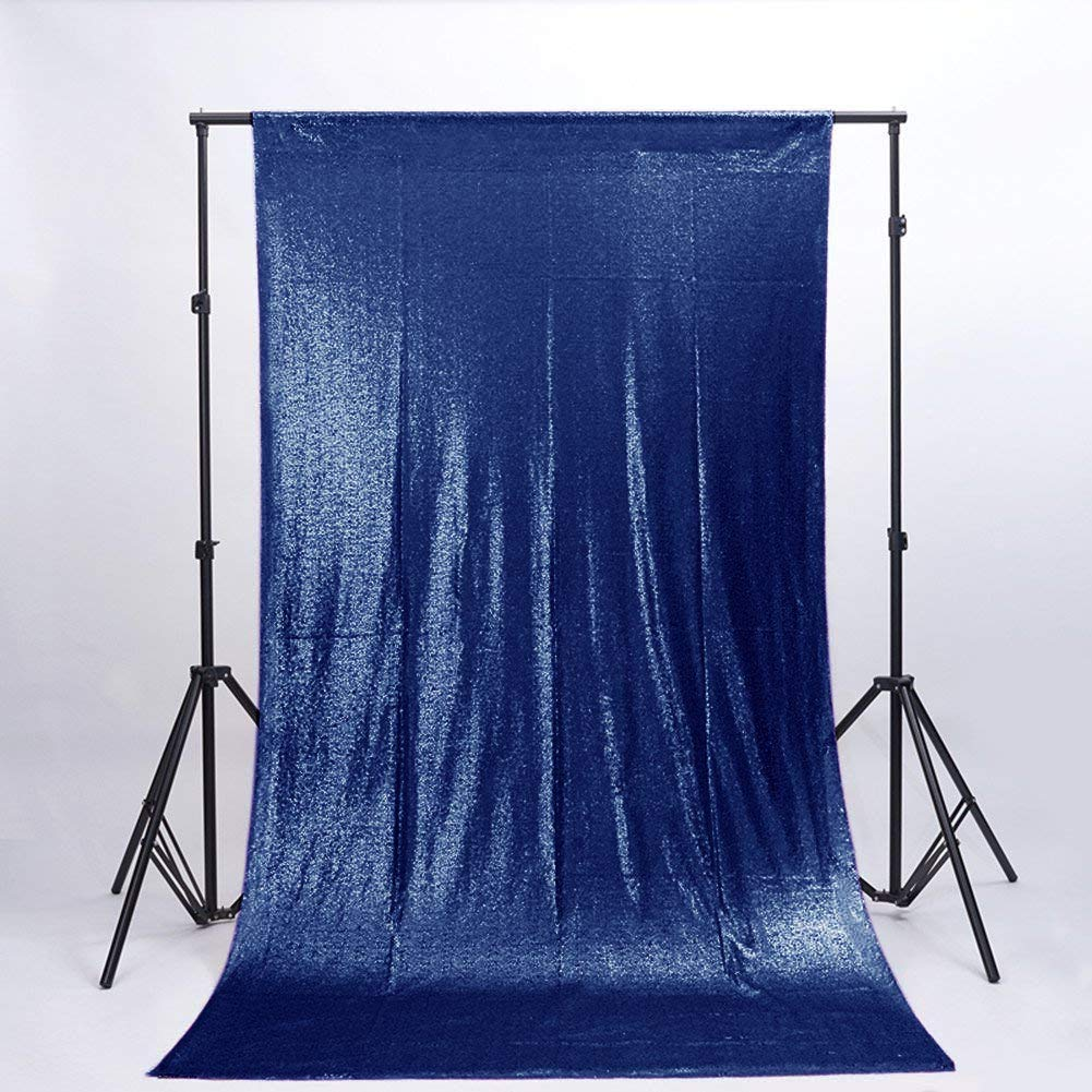 DUOBAO Sequin Backdrop Curtain 4FTx6FT Navy Blue Glitter Background Navy Blue Sequin Photo Backdrop Prom Party Decor~0613 by DUOBAO