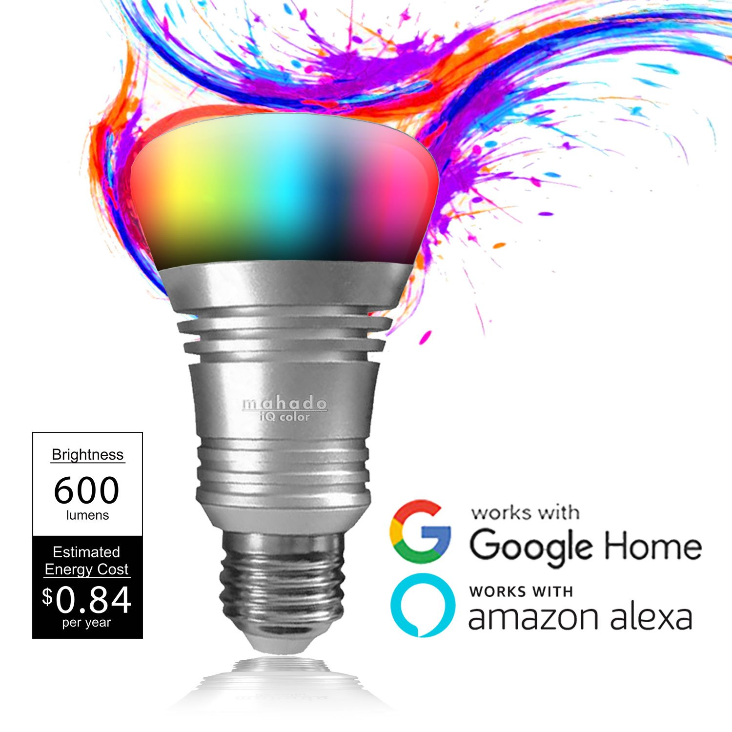 Color WiFi LED Smart Light Bulb | 7w Smart LED Bulbs Work with Alexa, Google Assistant, and IFTTT | Dimmable WiFi Smart Light | No Hub Required for Colored Alexa Smart Bulb | by Mahado (1 Pack 7w)