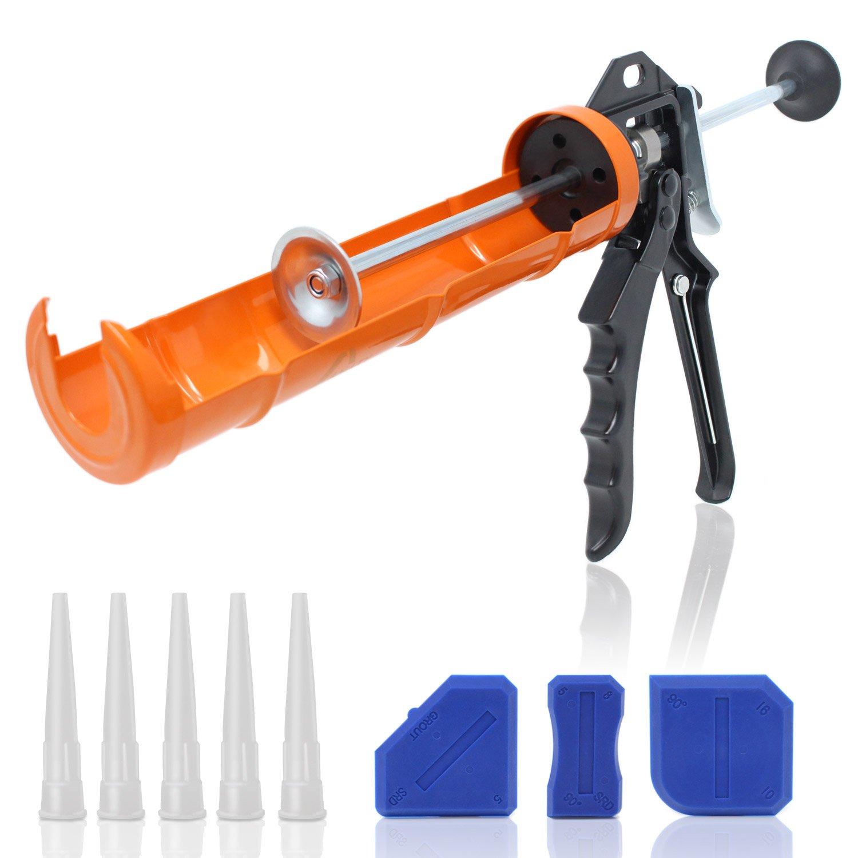Amazy Pistolet mécanique rotatif à cartouche en acier inoxydable – Inclus 5 embouts de rechanges + 3 lisseurs de joint – Presse cartouche pour 310 ml | Levier 12:1