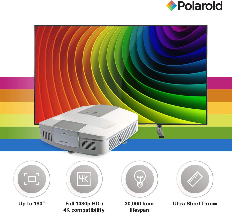 Polaroid Cinema HD U-100 Proyector de TV ultracorto y S-100 pantalla de proyección de luz ambiental para diversión instantánea del cine en casa: Amazon.es: Electrónica