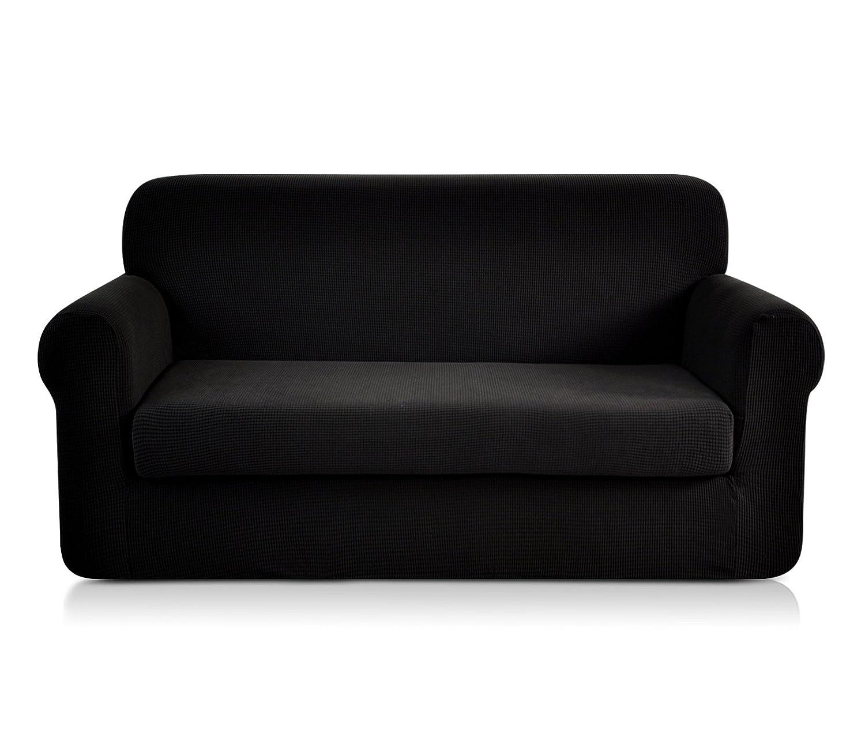 CHUN YI Jacquard Sofa Covers 2-Piece Polyester Spandex Fabric Stretch Slipcovers (Chair, Grey) LTD