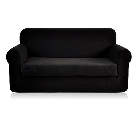 Chun Yi - Funda de sofá extensible de 2 plazas, revestimiento de sofá, jacquard, negro, 3 plazas
