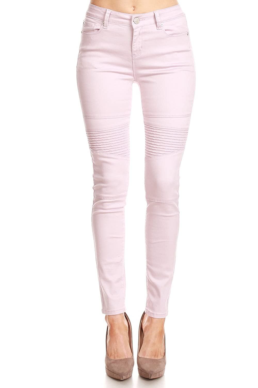 Vialumi Womens Juniors Solid Colored Five Pocket Stretch Skinny Jeans Sizes 0-13