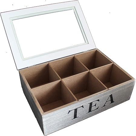 Café caja lata para café café de Pad Caja de retención de monodosis de madera con 6 compartimentos y ventana para guardar Pads Vintage: Amazon.es: Hogar
