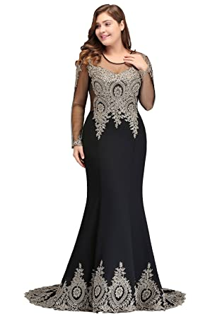 Babyonlinedress Women Lace Mermaid Plus Size Evening Gown Long ...