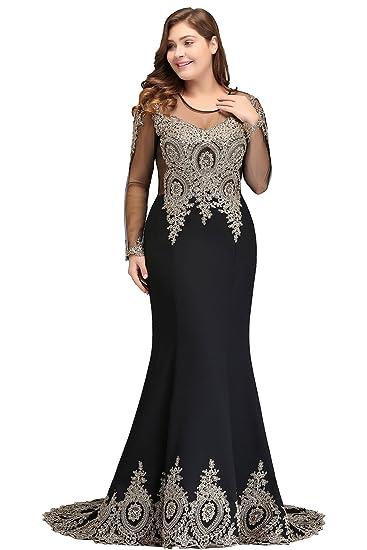 Babyonlinedress Women Lace Mermaid Plus Size Evening Gown Long