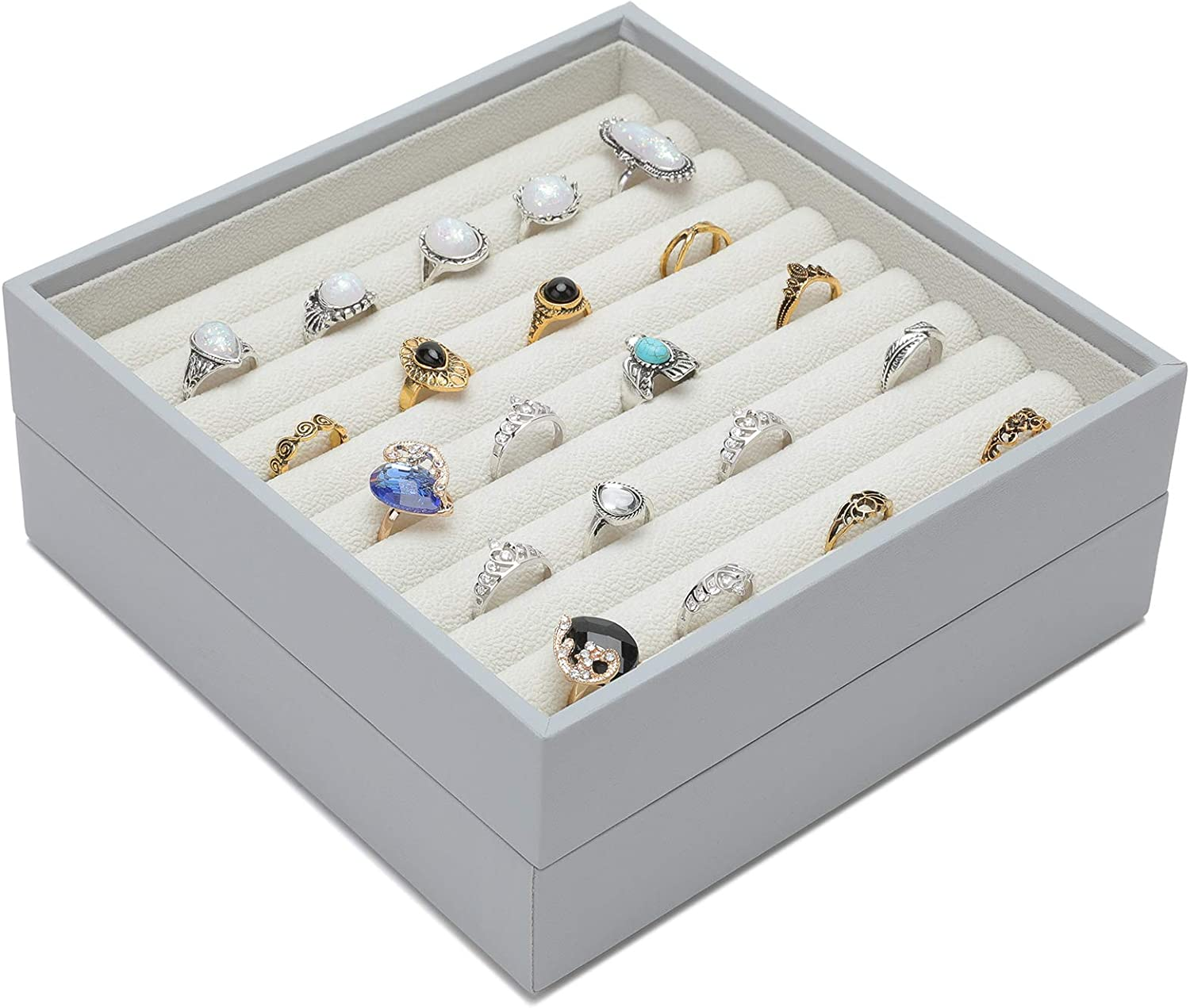 Magic Stackable Jewelry Trays Closet Dresser Drawer Organizer for Rings, Cuff Links, Storage Display Showcase Holder Box, Set of 2