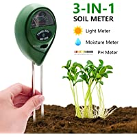 [2019 Upgraded] Soil Moisture Meter - 3 in 1 Soil Test Kit Gardening Tools for PH, Light & Moisture, Plant Tester for Home, Farm, Lawn, Indoor & Outdoor (No Battery Needed)