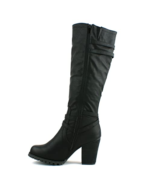 LADIES WOMENS BLOCK HEEL GRIP SOLE KNEE HIGH ZIP RIDING STYLE BOOTS SHOES  SIZE 3 4 5 6 7 8: Amazon.co.uk: Shoes & Bags