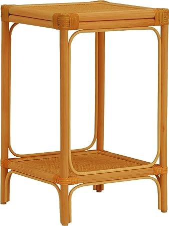 Destock Meubles Beistelltisch Quadratisch Rattan Honig Doppel
