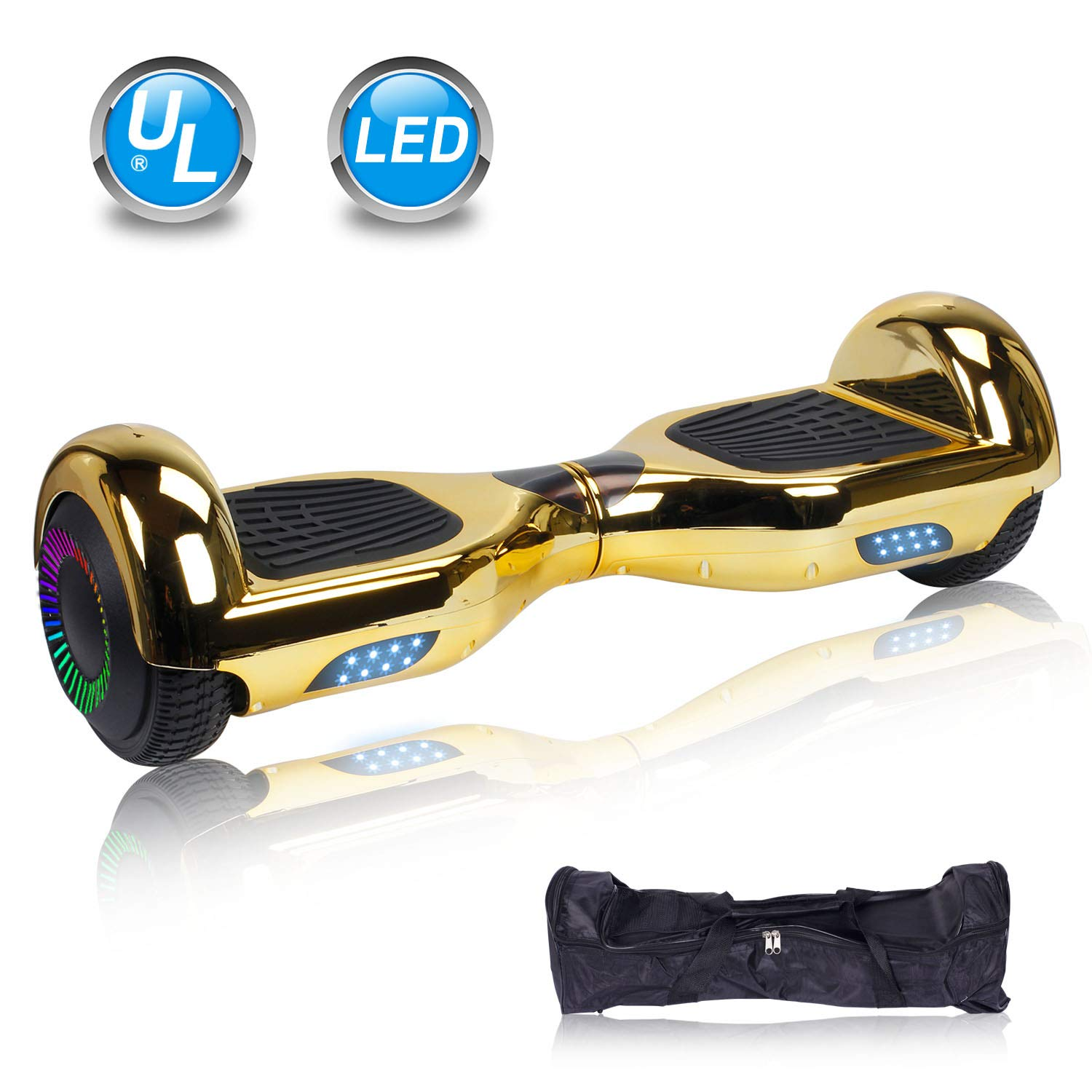 UNI-SUN 6.5'' Hoverboard for Kids, Two Wheel Self Balancing Electric Scooter, Hoverboard with LED Lights for Adults, UL 2272 Certified Hover Board(Classic Chrome Gold)