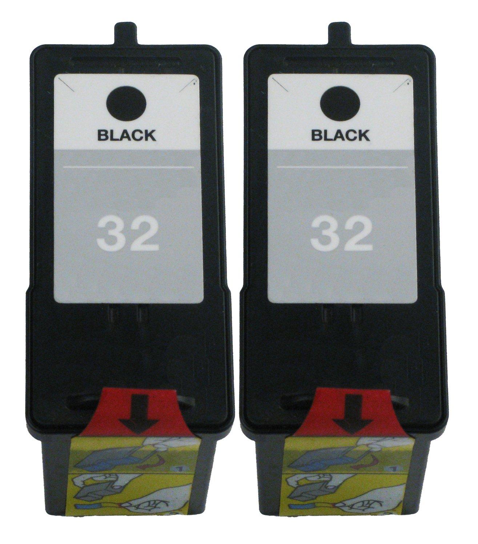 補充Ocproducts Lexmark 32インクカートリッジ交換Lexmark x5470 x3330 x3350 p6350 x5250プリンタ18 C0032 ( 2ブラック) B06XQPJTYC