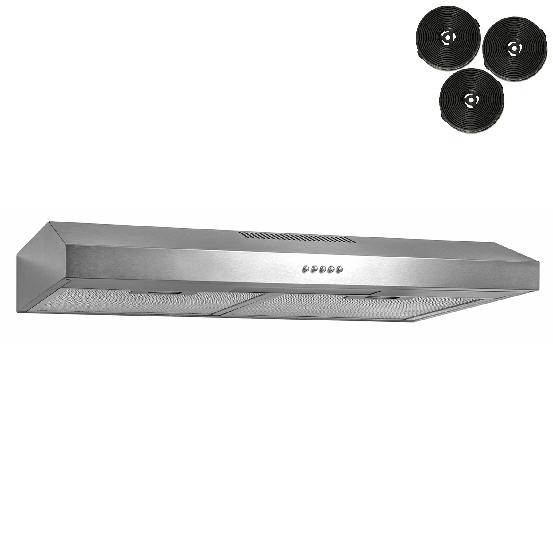 AKDY 24'' Under Cabinet Stainless Steel Push Panel Kitchen Range Hood Cooking Fan w/Carbon Filters