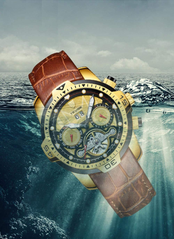 Armbandsur, automatisk mekanisk klocka mode män vattentät klocka Full Gold Skin