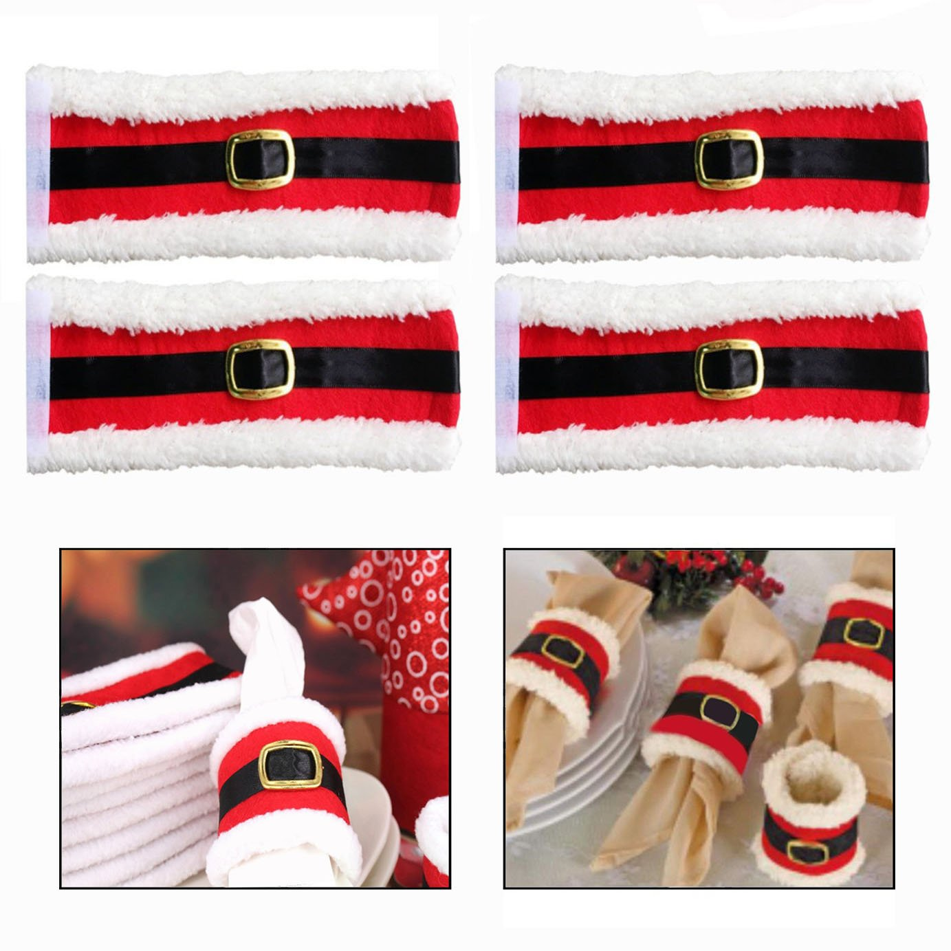 OFKPO Christmas Napkin Rings Holders Xmas Dinner Table Decorations Kitchen Dining Restaurant Hotel Table Decor