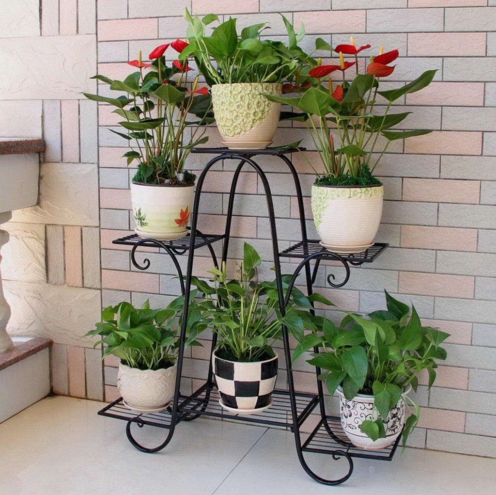 confortevole ZHDC® Rack per fiori, ferro Europa e l'americano Indoor Living Living Living Room Ripiano scaffale a fiori 82x26x84cm Risparmio di spazio forte ( colore   Nero )  ti renderà soddisfatto