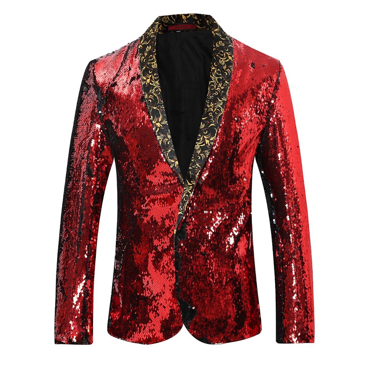 Cloudstyle Men's Sport Coat Slim Fit Notched Lapel Sequins Dance Party Blazer Jacket,Red-black,Medium