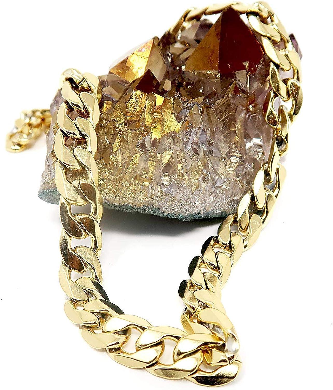 Collar cadena oro 9MM 24 K moda joyería diamante corte cierre sólido Miami cubano enlace Hip Hop verdadero regalo.: Amazon.es: Joyería