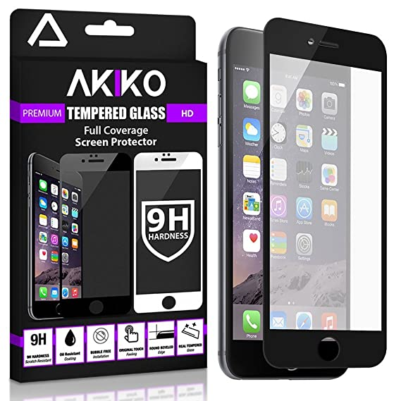 quality design 09235 b725a Akiko iPhone 6 6s Plus Black Screen Protector, Akiko New 2.5D Full Screen  Tempered Glass Protector [Full Protection Cover w/ Curved Edge] - Retail ...