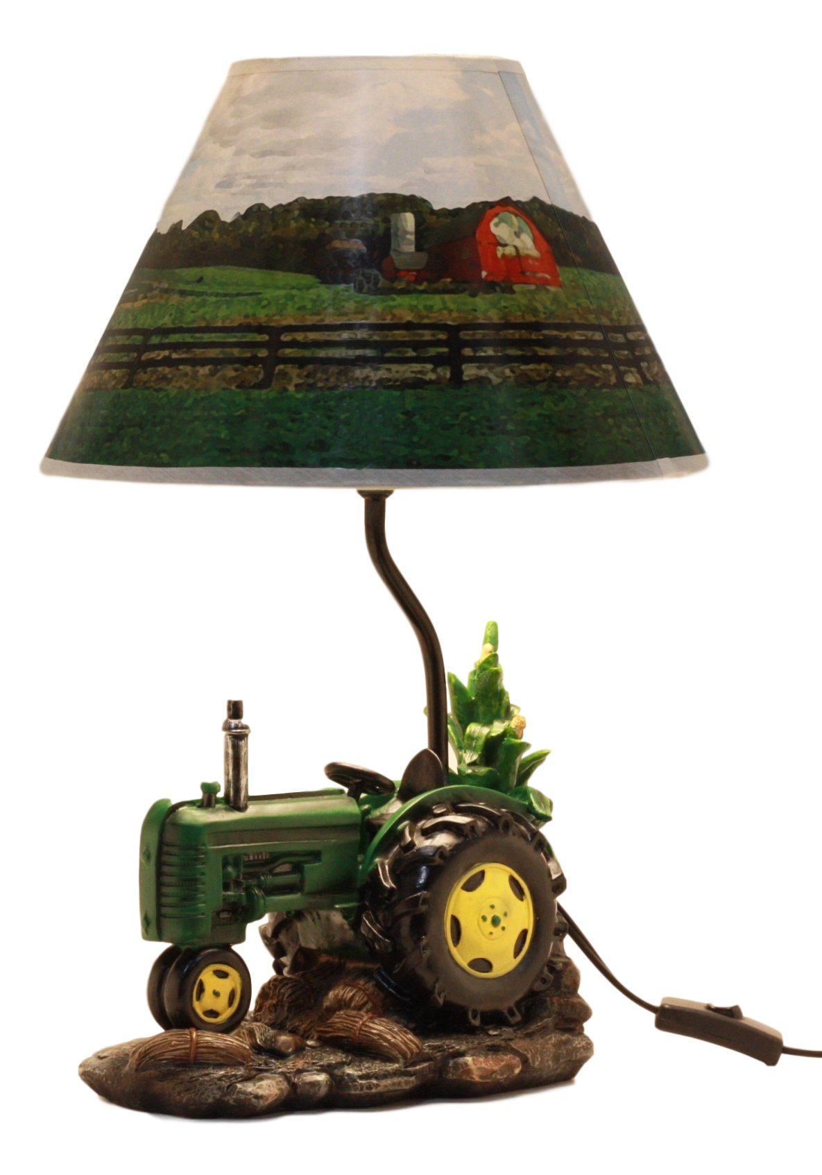 Ebros Gift Vintage Country Farm Harvest Season Green Tractor Desktop Table Lamp With Nature Printed Shade Home Decor 18''Tall