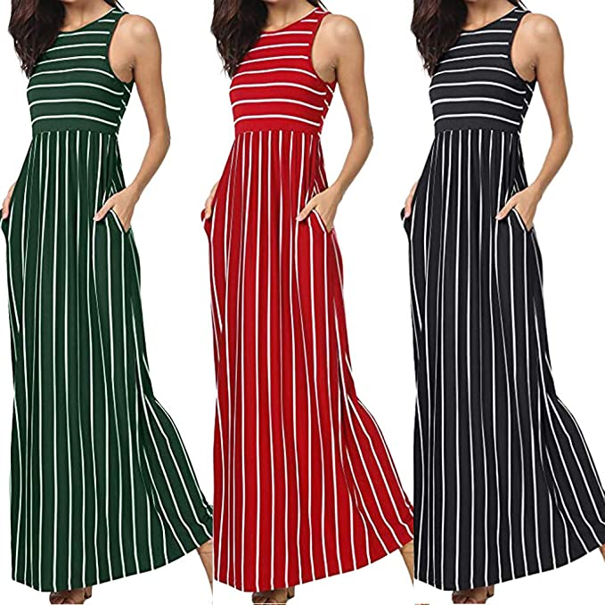 Sonojie Clearance sale Women Summer Sleeveless Striped Printed Pockets Loose Swing Casual Maxi Long Dress for Evening Cocktail Party