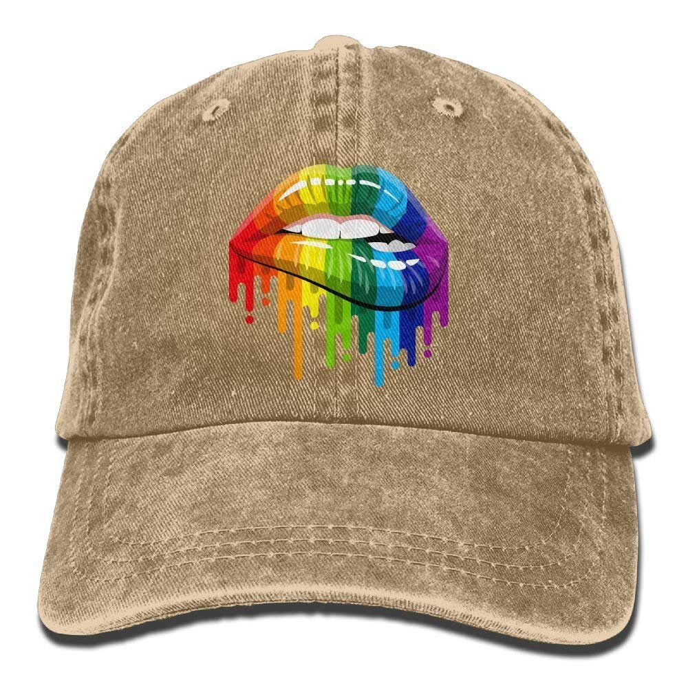 Gay Homosexual Lesbian Rainbow Lips Pride Vintage Washed Dyed Cotton Twill Low Profile Adjustable Baseball Cap Black W554370