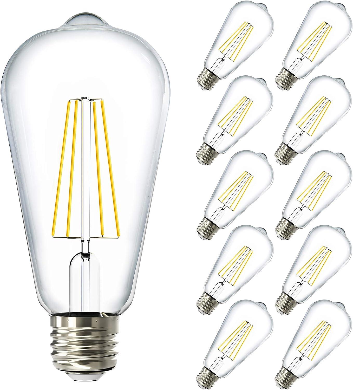 Sunco Lighting 10 Pack ST64 LED Bulb, Dimmable, Waterproof, 8.5W=60W, 4000K Cool White, Vintage Edison Filament Bulb, 800 LM, E26 Base, Restauarant or String Lights - UL