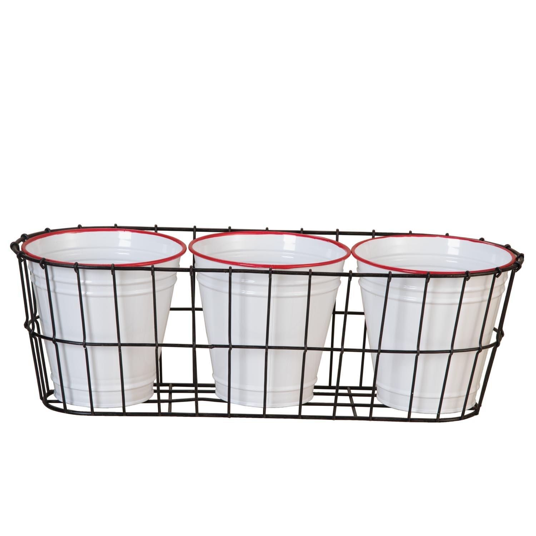 Foreside Home /& Garden FPAU05063 Enamel Pots in Wire Basket White//Black//Red