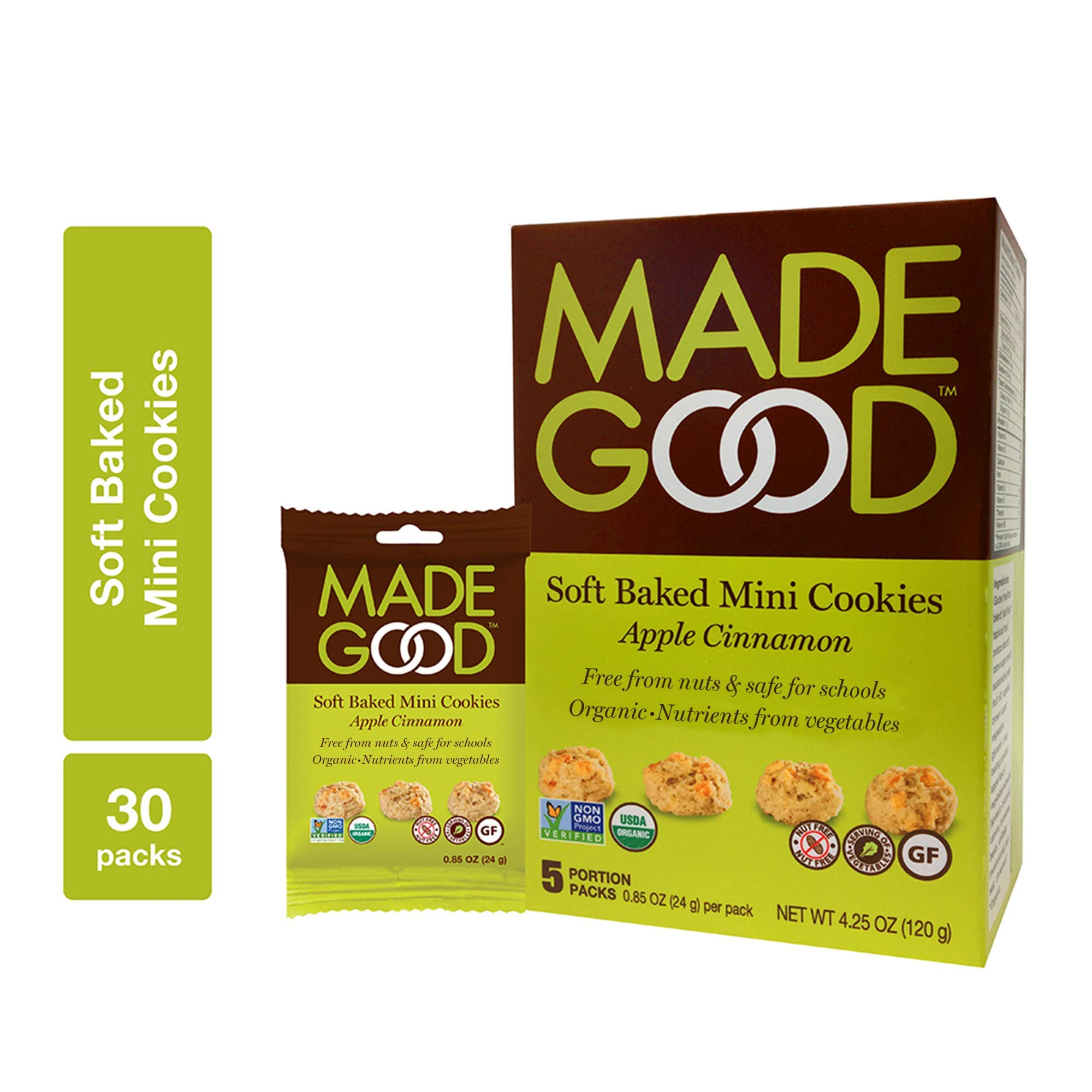 MadeGood Apple Cinnamon Soft Baked Mini Cookies, 6 boxes (30 ct); With the Scrumptious Flavor of Homemade Apple Crisp, the Delicious Snacks Contain Organic, Non-GMO, Gluten Free Ingredients by Made Good