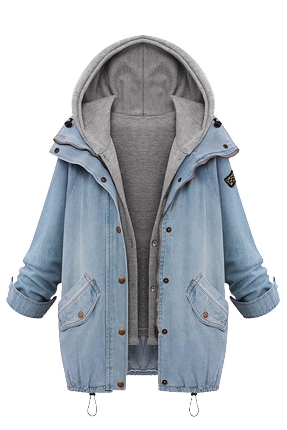 Zilcremo Women Casual 2 Pieces Washed Hooded Denim Jacket Outcoat Outwear Plus Size CAFZ897