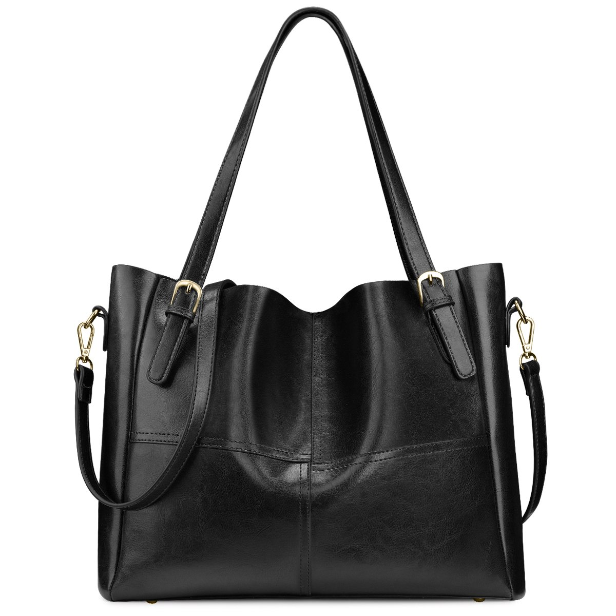 SAMSHOWME Women Top Handle Satchel Handbags Shoulder Bag PU Leather Tote Purse (Black)