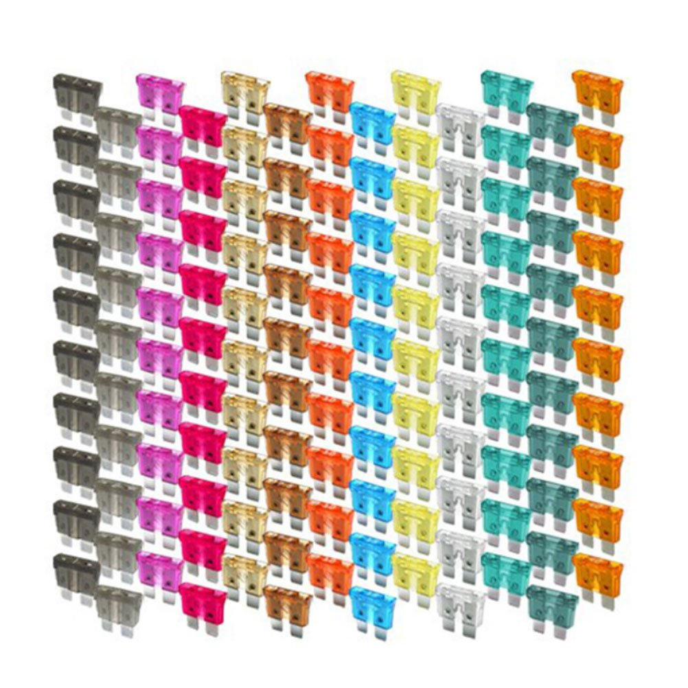Tinksky Mini Blade Fuse Assortment Auto Car Motorcycle SUV Fuses Kit 1-40A (Random Color) 130pc