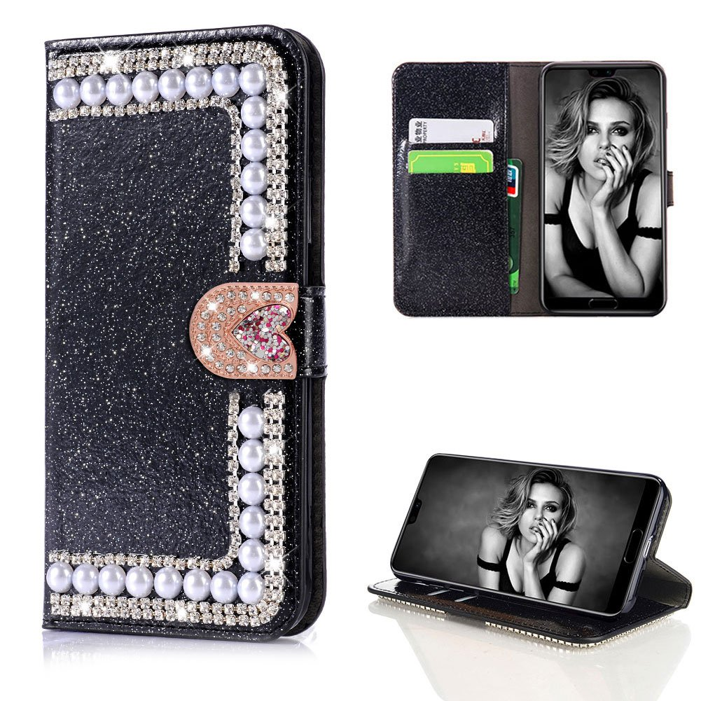 Diamond Case for Huawei P20 Pro,Cistor Luxury Black Glitter 3D Handmade Pearl Wallet Case for Huawei P20 Pro,Soft PU Leather Case with Love Heart Magnetic Closure Card Slot Cover + 1x Free Ring Holder