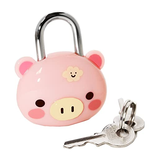 32a3fa4377e3 Cute Pig Steel Security Lock with Keys Padlock Lock for  Luggage,Suitcases,Gym, Journal, Backpacks & School and Employee Lockers