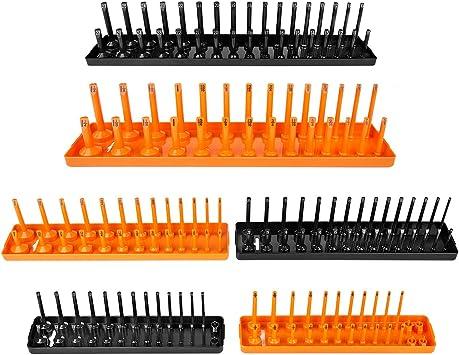 6 Pcs Socket Organizer Tray Rack Storage Holder Tool Metric SAE 1//4/'/' 3//8/'/' 1//2/'