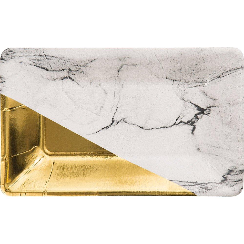 Elise 329883 Foil Rectangular Appetizer Paper Plates, Marble