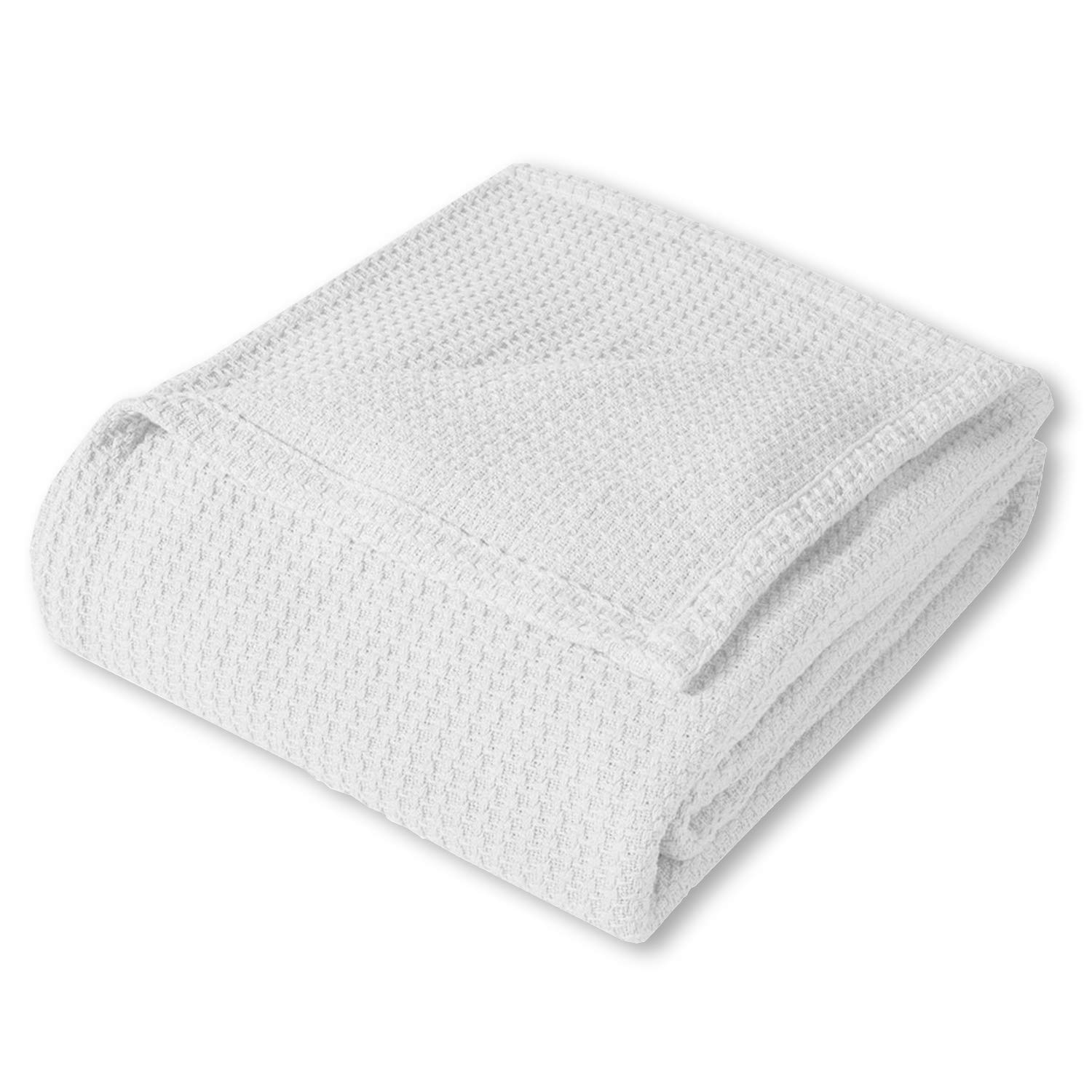 Sweet Home Collection 100% Fine Cotton Luxurious Basket Weave Blanket, White