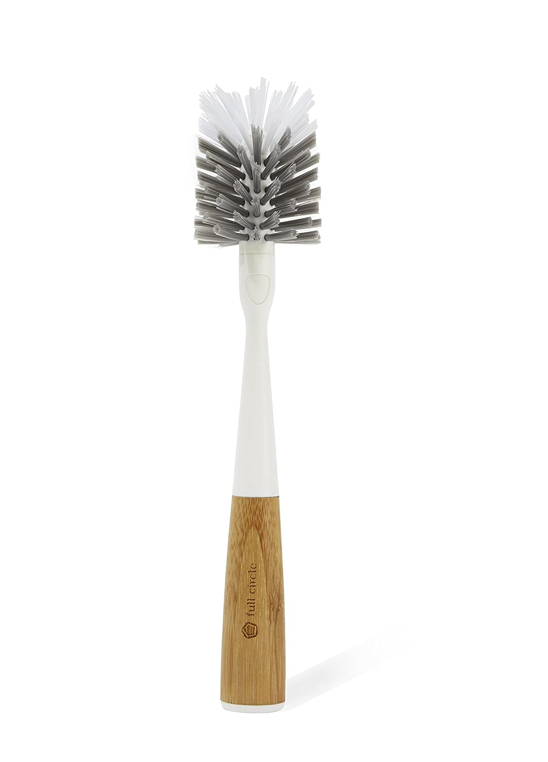 White FC16118W Full Circle Clean Reach Bottle Brush with Replaceable Bristle Brush Head Bamboo Handle
