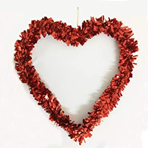 Joysail Valentine Wreath Decorations - Red Tinsel Heart Wreath for Valentines Day Decorations Outdoor Indoor - Artificial Heart Shaped Wreathfor Party Wall Decor, 12 inch