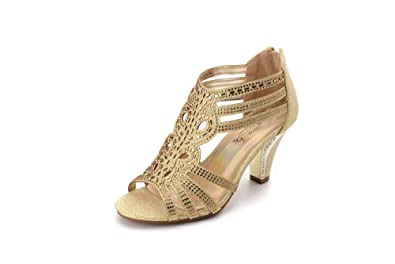 352a2854e Ashley A Collection Women's Lexie Crystal Dress Heels Low Heels Wedding  Shoes KIMI25 Gold 5