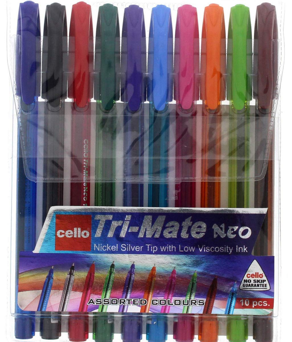 Cello Tri-mate Neo 100-ST Medium Rainbow Ballpoint Pen, Assorted Colours Biro,Coloured Pens | Fun Colours | Pack of 10