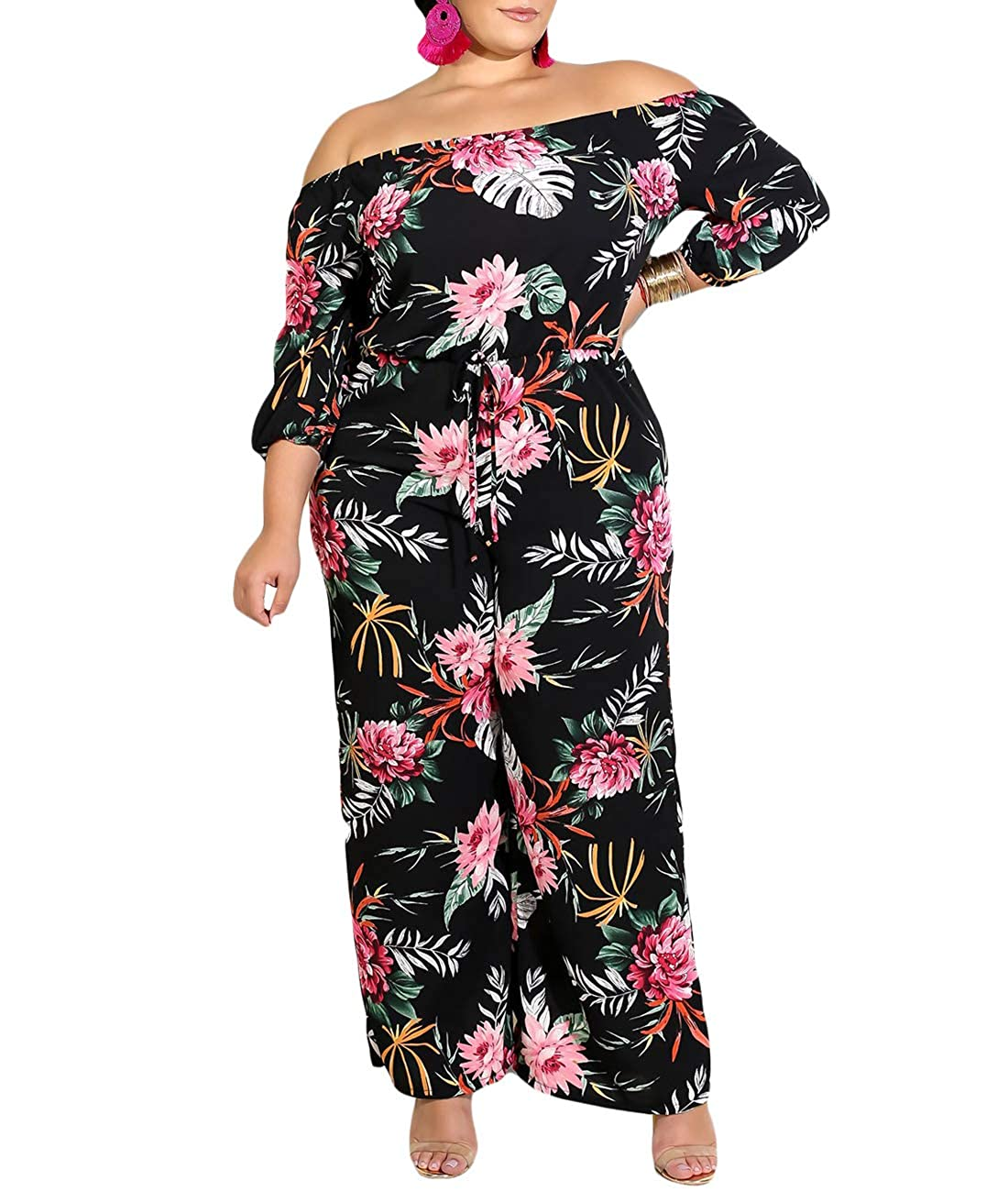 17f23eca92 Amazon.com: Urchics Women Plus Size Sexy Off Shoulder Floral Wide Leg Jumpsuit  Romper: Clothing