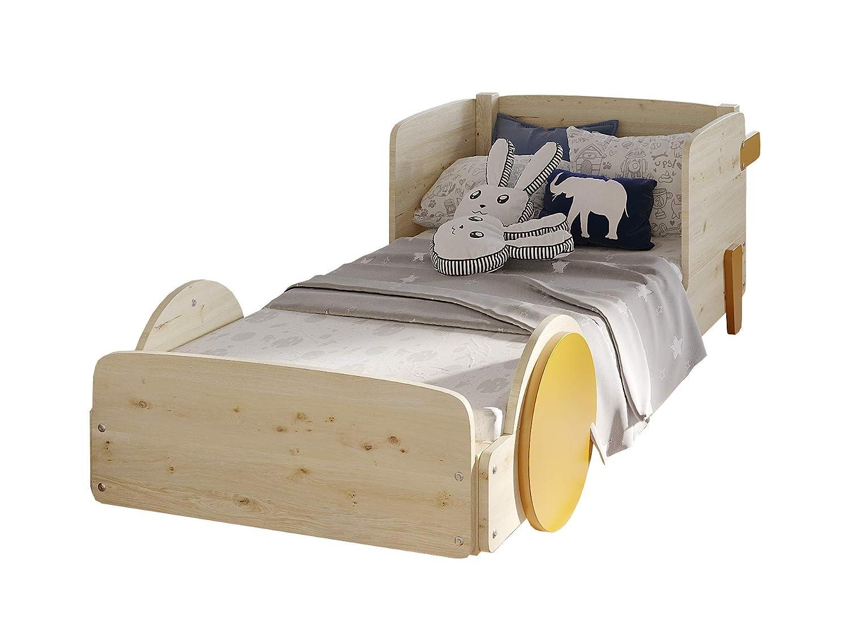Hyggelia Einzelbett aus Holz Wenus für Kinder Jugendliche MDF Zubehör Möbel für das Schlafzimmer, natürliches Holz, 80 x 180cm