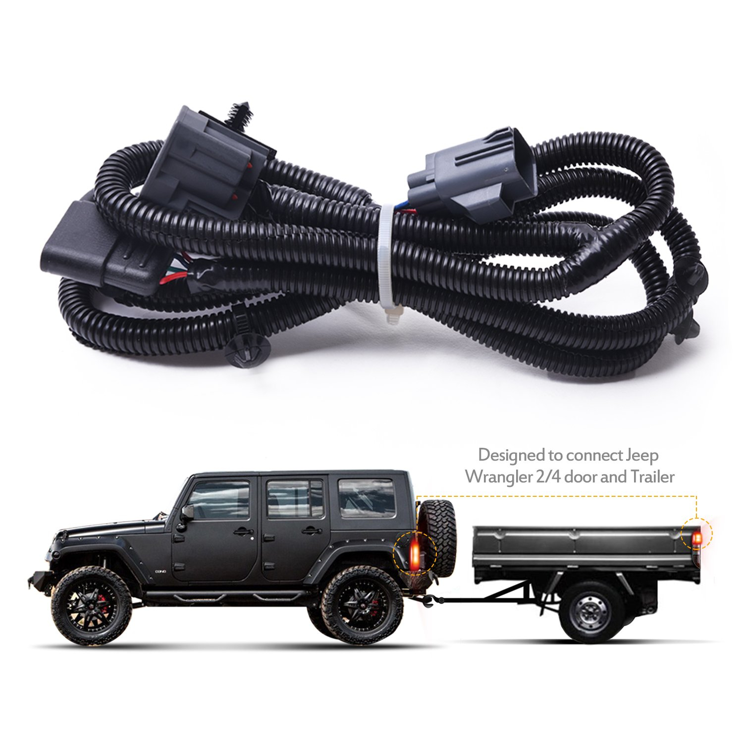 EAG 67 inch Trailer Hitch Wiring Harness Kit Single Fit for 07-18 Jeep Wrangler JK
