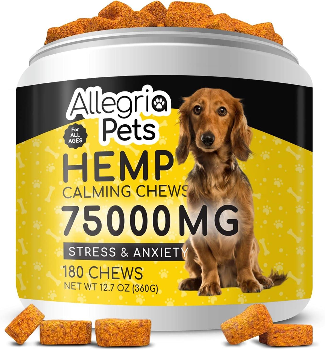 Hemp Calming Treats For Dogs Chews - 180 Dog Chews [Mega Value] - Dog Anxiety Relief - Dog Calming Treats With Valerian Root, Chamomile, L Tryptophan & Melatonin For Dogs Anxiety Sleep Aid USA Made