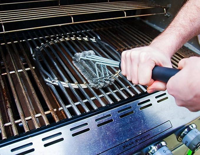 Parrilla para barbacoa Yivans cepillo de acero inoxidable con cepillo de cerdas y de extra larga de mango, Super de cepillo de alambre para horno de ...