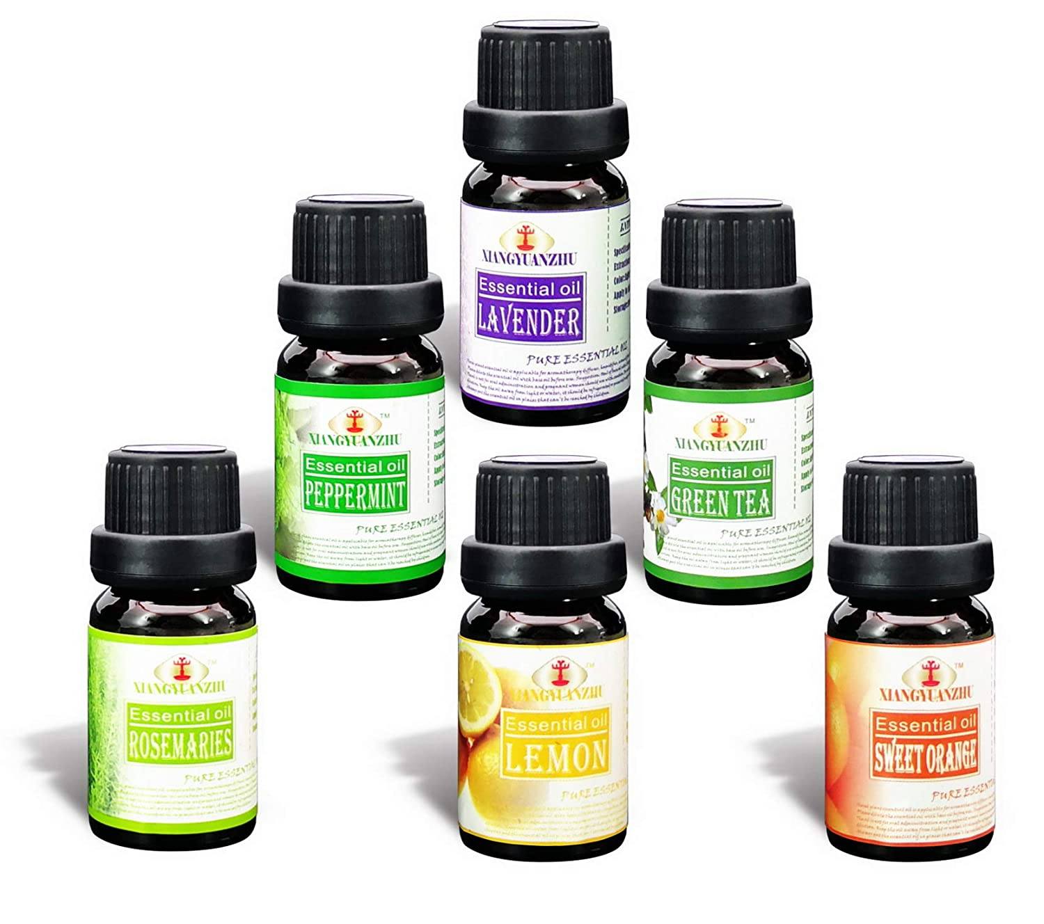 Essential Oils Gift Set,100% Pure & Natural Top 6 Aromatherapy Oils for Diffuser,Premium Grade Fragrance Oils 6x10ml (Rosemary,Tea Tree,Peppermint, Sweet Orange,Lavender,Lemon)
