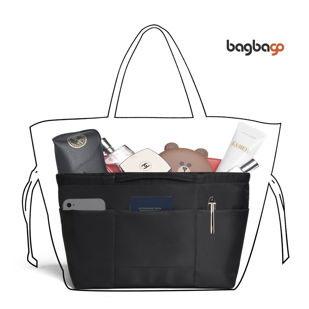 13 Pockets Purse Organizer Tote Insert Liner Bag Anti-Theft Keychain(M,Black) by BES CHAN (Image #1)